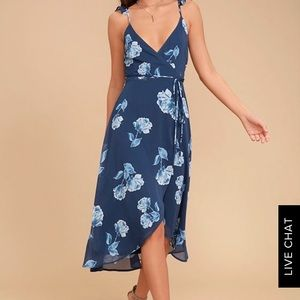 Lulu's one desire navy blue floral wrap dress